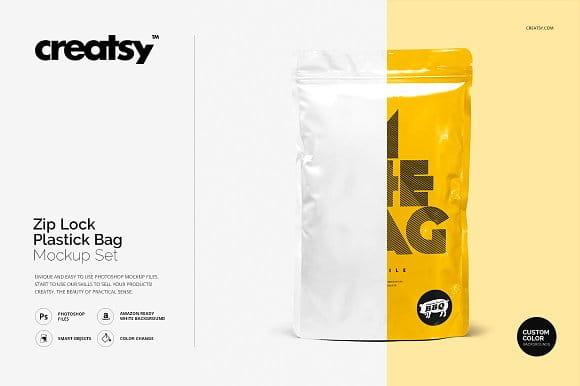 Zip Lock Plastic Bag Mockup Set (Turbo Premium Space)