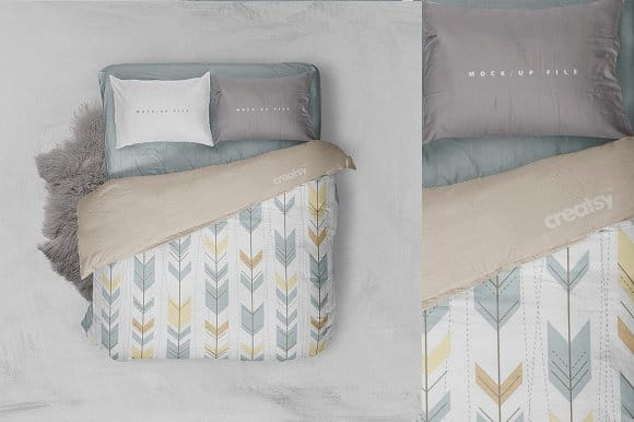 Double Bed Bedding Mockup