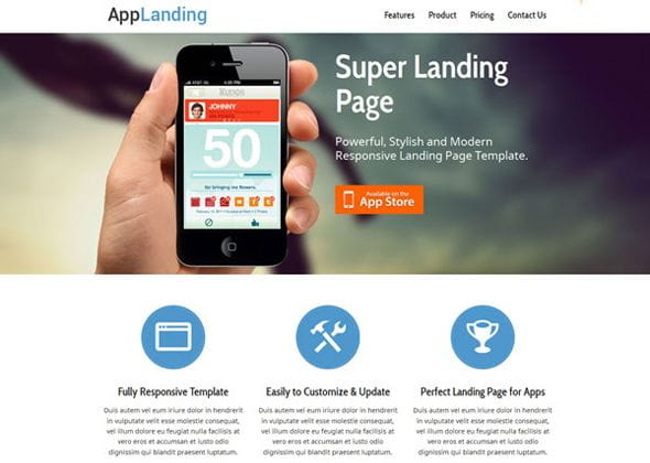 Retina Ready Responsive App Landing Page Website Template
