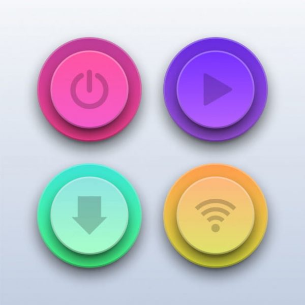 3d colorful buttons. power