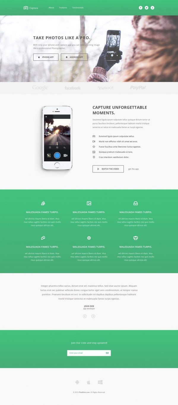 Capture – Bootstrap HTML template