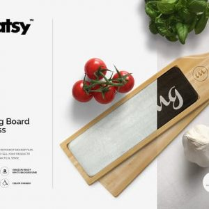 Chopping Board with Glass Mockup Set