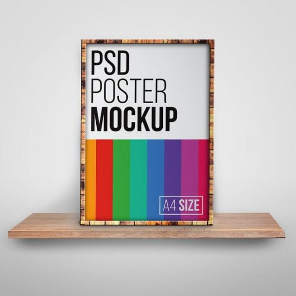 A4 Size Framed Poster Psd Mockup (Turbo Premium Space)