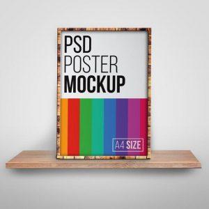 A4 Size Framed Poster Psd Mockup