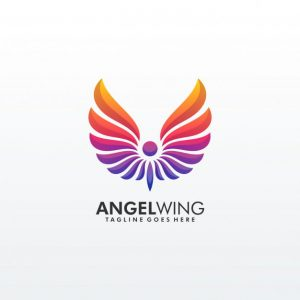 Abstract wing colorful premium logo