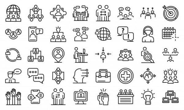 Advice icons set, outline (Turbo Premium Space)