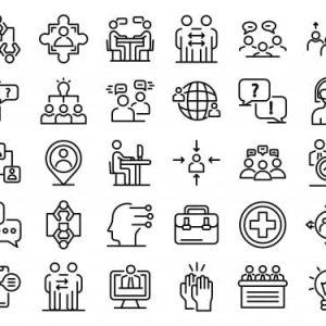 Advice icons set, outline
