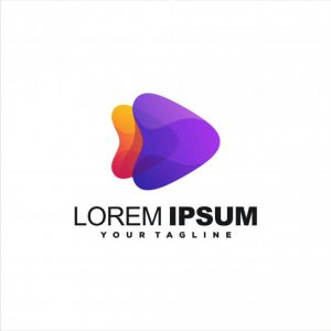 Awesome play gradient logo