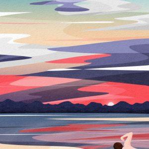 Back View Sky And Landscape Swim Swimmer Paddling Illustration