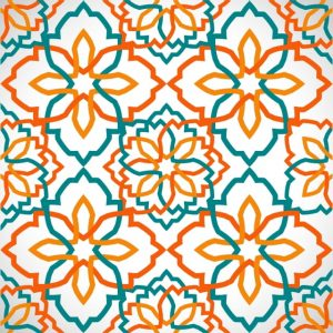 Background Pattern Of Islamic Geometric Mosaic Orange