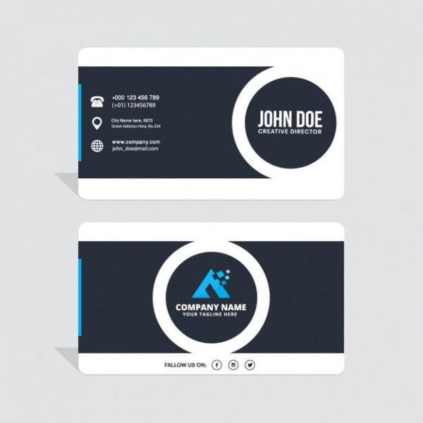 Black and white business card with circles