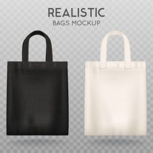 Black and white tote shopping