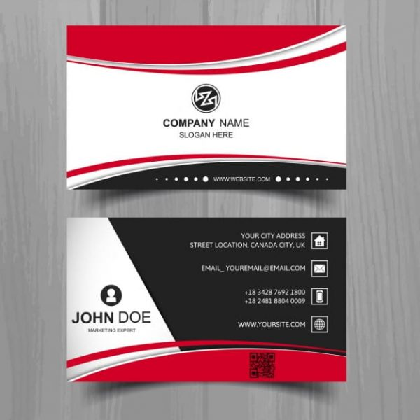 Black business card with red shapes (Turbo Premium Space)