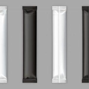 Black, white sugar sachet stick