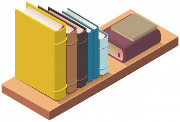 Bookshelf and several hardcover books (Turbo Premium Space)