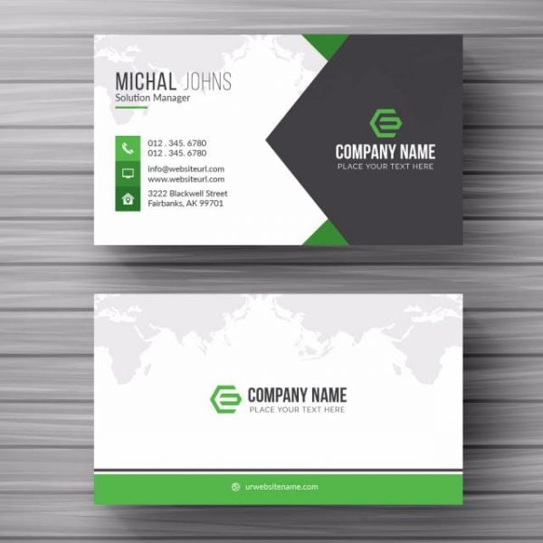 Business Card With Green Details