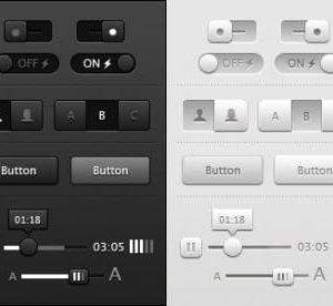 Buttons dark grey light sliders