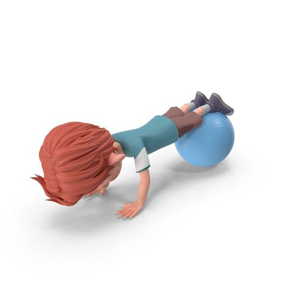 Cartoon Boy Charlie Doing Push-Ups