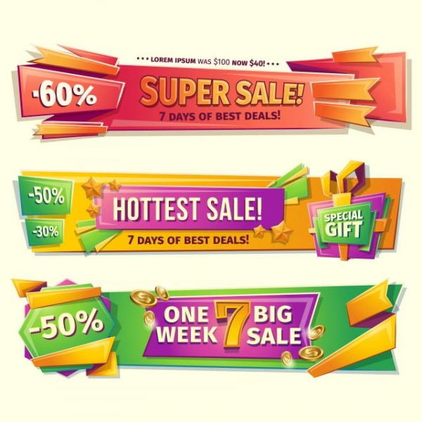 Cartoon Sale Banners Badges Stickers Tags (Turbo Premium Space)