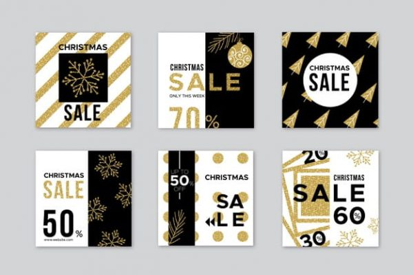 Christmas sale banners in flat design (Turbo Premium Space)