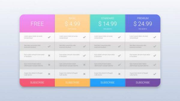 Colorful pricing plans (Turbo Premium Space)