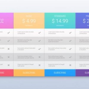 Colorful pricing plans
