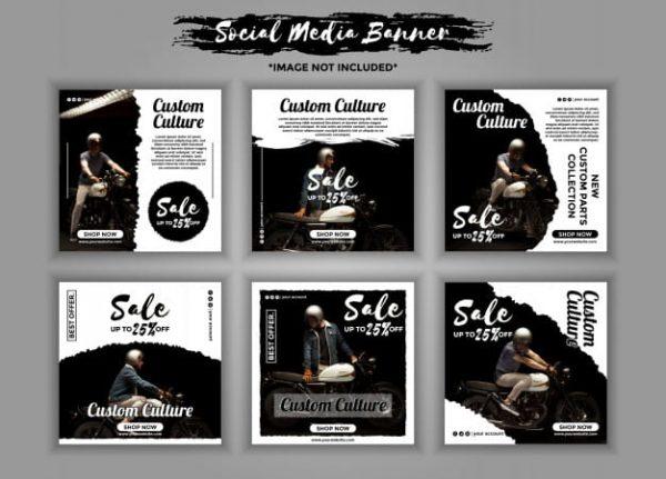 Custom motorcycle social media banner template pack