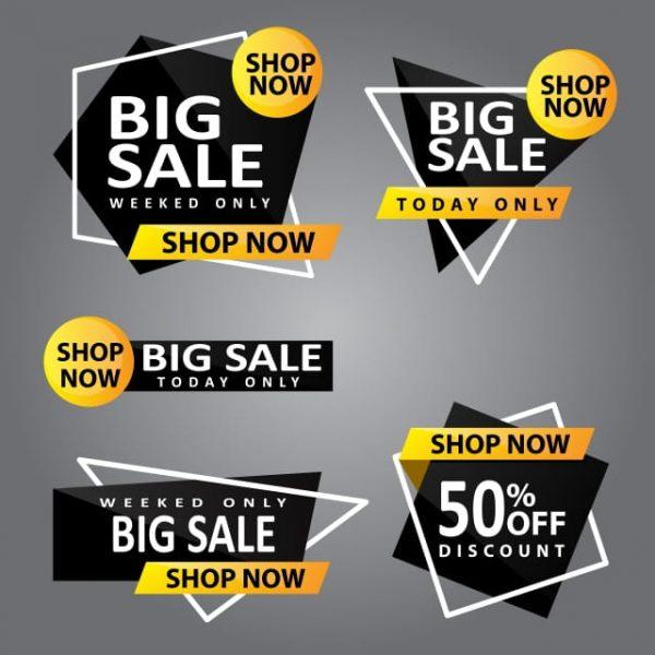 Editable Big Sale Banner Black And White (Turbo Premium Space)