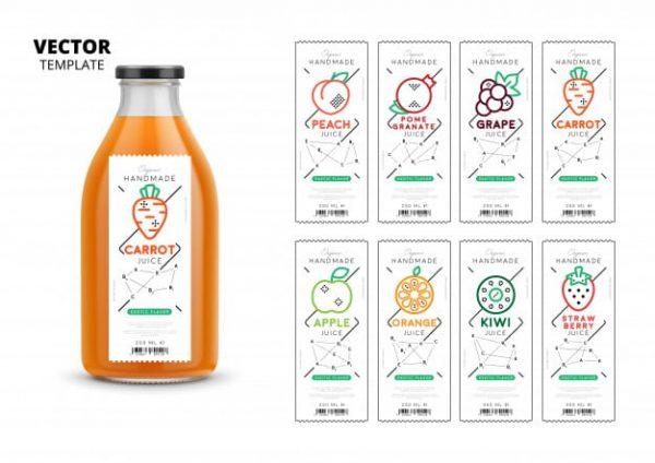 Fresh juice packaging mockup set (Turbo Premium Space)