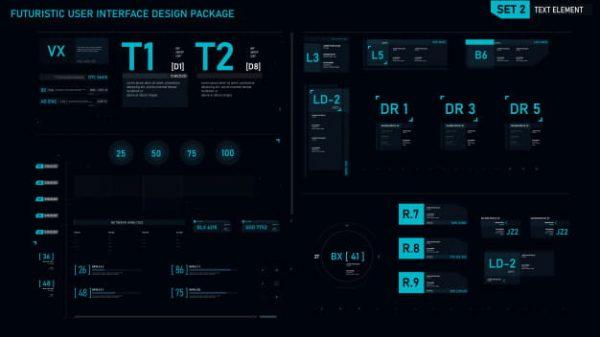 Futuristic user interface elements (Turbo Premium Space)