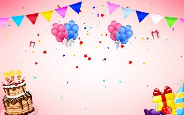 Happy Birthday Balloons Banner Background (Turbo Premium Space)