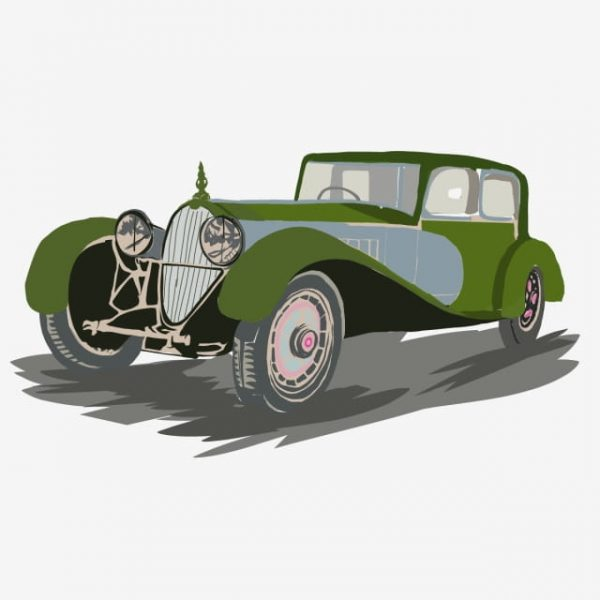 Ilustration Of A Classic Car On A White Background (Turbo Premium Space)