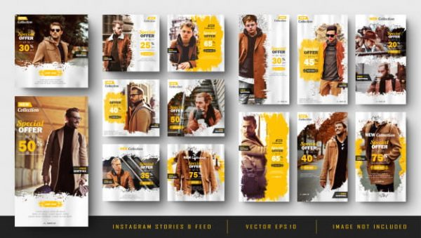 Instagram stories and feed post bundle kit template (Turbo Premium Space)