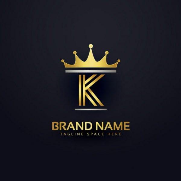 Letter k logo with golden crown
