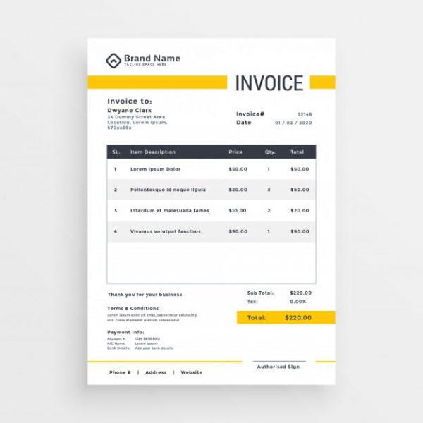 Minimal yellow invoice (Turbo Premium Space)