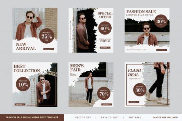 Minimalist fashion sale square banner template set (Turbo Premium Space)