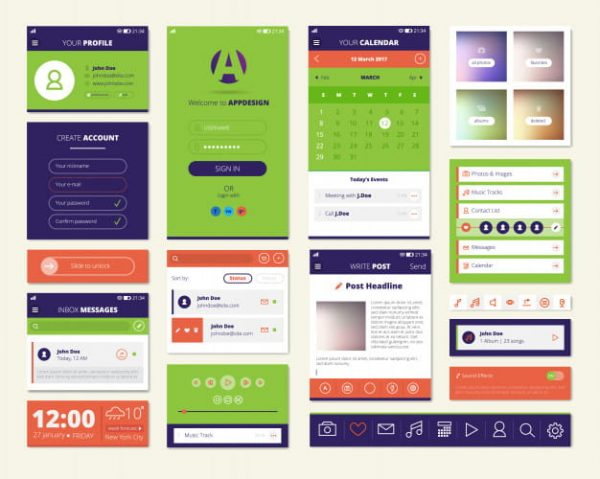Mobile apps screen elements