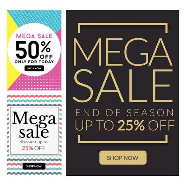 Modern Mega Sale Banner Set Illustration