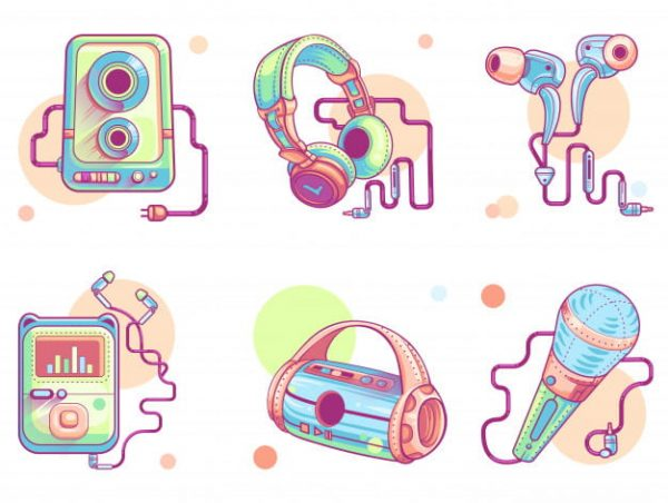 Music or audio line art icons