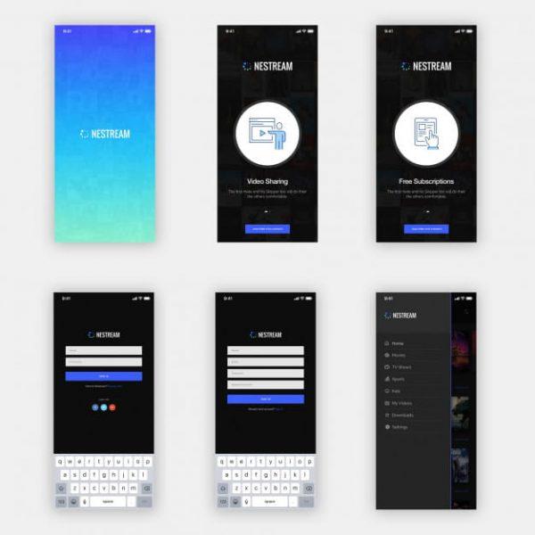 Nestream mobile app ui kit