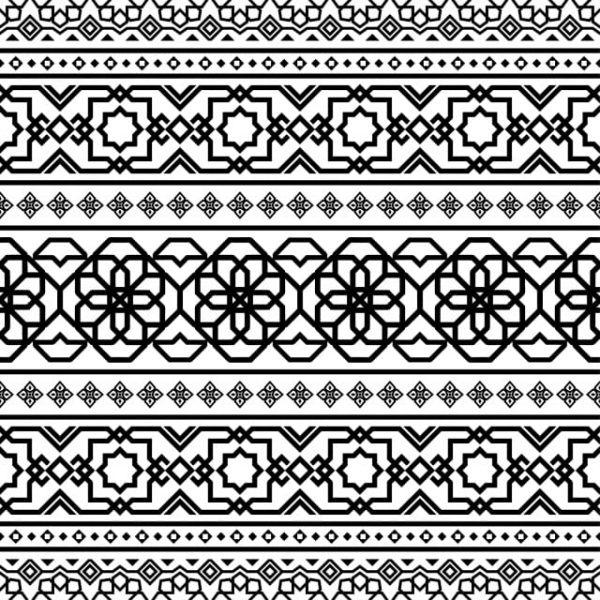Persian Ethnic Pattern Islamic Design In Black And White Color (Turbo Premium Space)