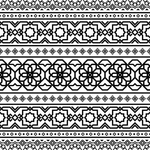 Persian Ethnic Pattern Islamic Design In Black And White Color