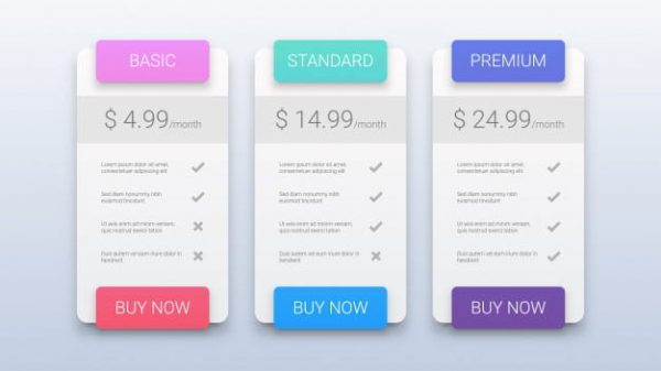 Pricing table template (Turbo Premium Space)