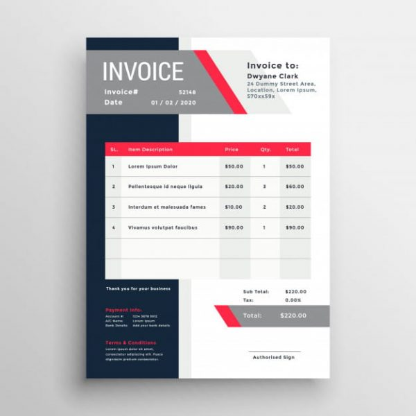 Professional invoice template (Turbo Premium Space)