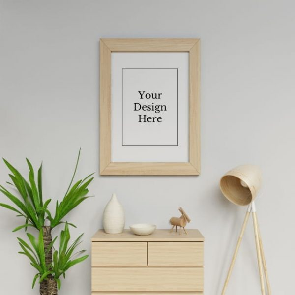 Realistic Single A1 Poster Frame Mock Up Design Template Hanging Portrait In White Scandinavia Interior Space (Turbo Premium Space)