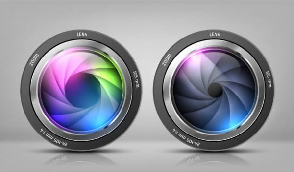 Realistic clipart with two camera lenses, photo objectives (Turbo Premium Space)