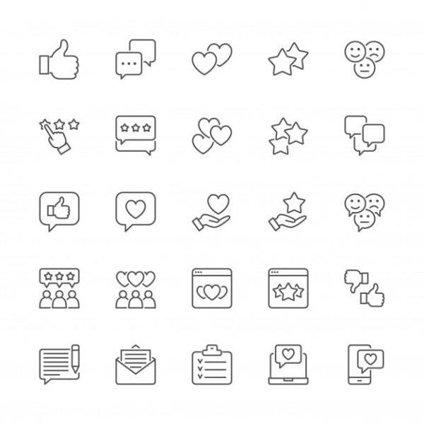 Set of feedback line icons (Turbo Premium Space)