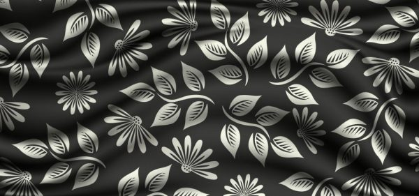 Silver Floral Patterns On Silk Background