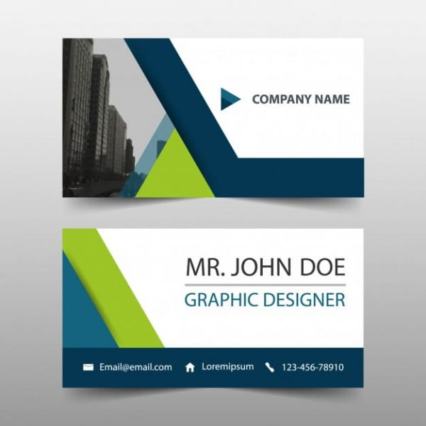 Simple business card, green and blue color Free Vector