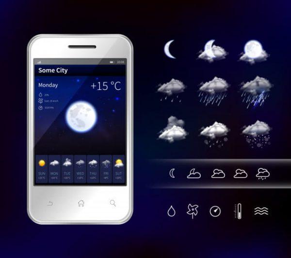 Smartphone mobile weather (Turbo Premium Space)
